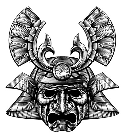 An original illustration of a samurai mask and helmet in a vintage woodblock style