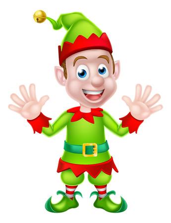 Cartoon Elf van Kerstmis of Kerstman helper zwaaien met beide handen