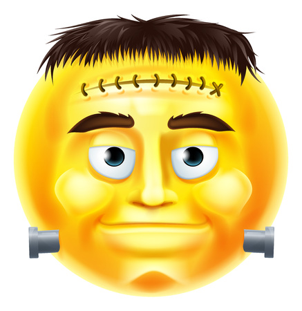 A Halloween Frankenstein style monster emoji emoticon