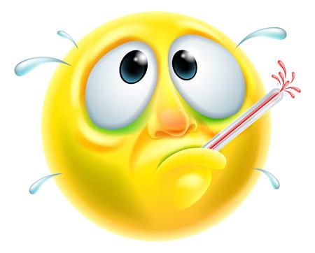 Źle chory chory szuka znaków emoji emotikon