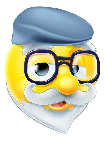 안경을 착용하는 노인 연금 OAP 노인 이모티콘 이모티콘 문자와 플랫 캡 모자