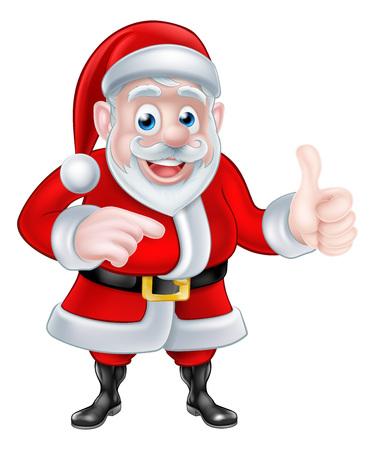 ポイントし、親指ジェスチャーを与えるサンタ クロースのクリスマス漫画イラスト  イラスト・ベクター素材