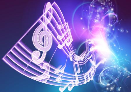 音楽音楽音楽背景ノート woth ネオンのように光る