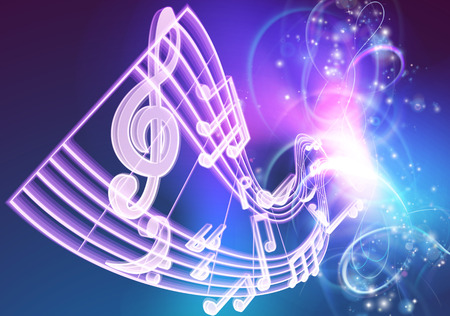A music background featuring musical music notes woth a neon like glow