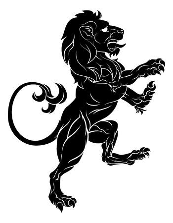 後ろ脚に家紋や紋章エンブレム立っているからのような手がつけられないライオンのオリジナル イラスト