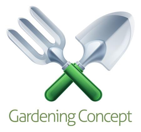 Eine gekreuzte Garten Gabel und Maurerkelle Spaten Gärtner Gartenarbeit Werkzeuge Icon
