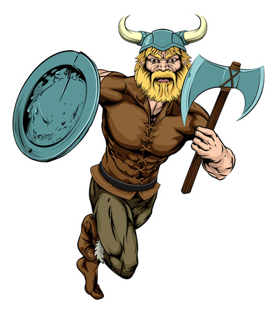 An illustration of a tough looking Viking Warrior mascot running with axe and shield
