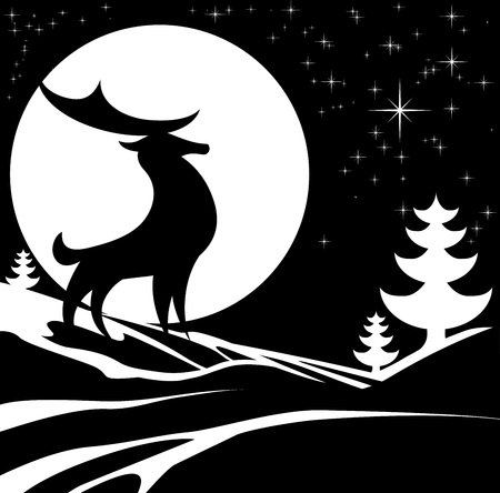 Stilisiert Schwarzweiss-Entwurf von einem Weihnachts-Winter-Szene mit einem Hirsch männlichen Hirsche und Vollmond im Schnee mit Weihnachtsbäumen