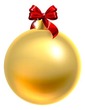 An illustration of a gold Christmas tree bauble decoration ornament with a red ribbon bow