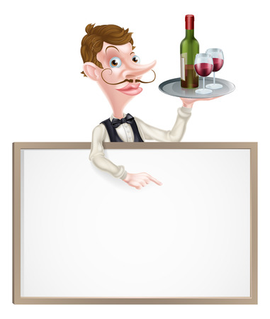 Cartoon waiter holding wine bottle and glasses above a sign or wine menu 向量圖像