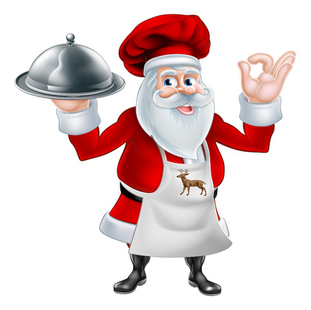 A Christmas cartoon illustration of chef or cook Santa Claus holding a silver platter and giving a perfect gesture Illustration