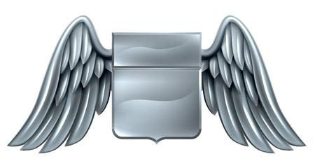 Een gevleugelde zilveren stalen metalen schild heraldic wapen ontwerp Stockfoto - 46271941