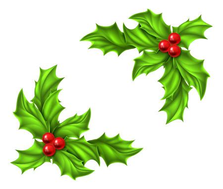 Kerst Hulst en rode bessen ontwerpelementen Stock Illustratie