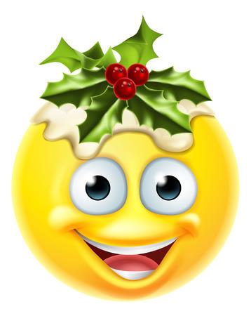 크리스마스 푸딩 축제 이모티콘 이모티콘 문자