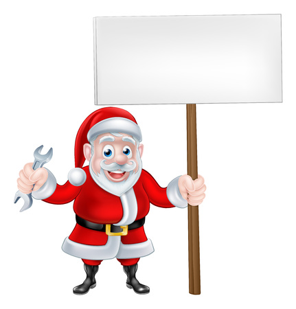 A Christmas cartoon of Santa Claus holding a spanner and sign board