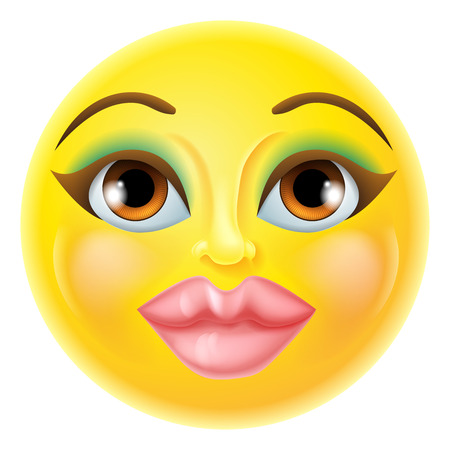 A cartoon beautiful female woman emoji emoticon icon 版權商用圖片 - 46272468