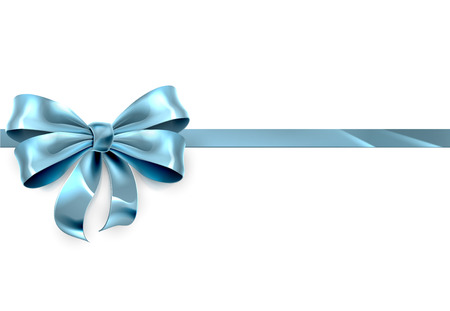 A beautiful blue ribbon and bow from a Christmas, birthday or other gift Vectores