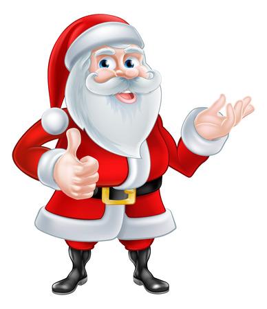 A Christmas cartoon illustration of Santa Claus giving a thumbs up