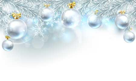 Snowflakes and Christmas tree baubles hanging from a Christmas tree background. Zdjęcie Seryjne - 46272563