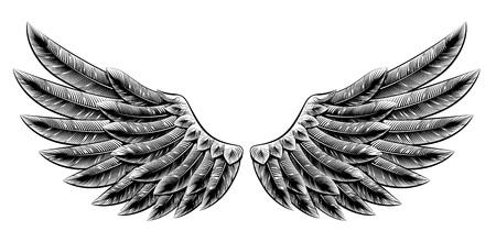 빈티지 목 판화 스타일 독수리 조류 또는 천사의 날개의 원래 그림