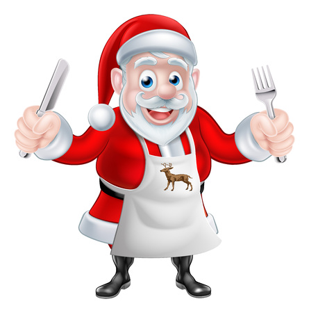 A Christmas cartoon illustration of Santa Claus cooking Christmas dinner and  holding a knife and fork in an apron