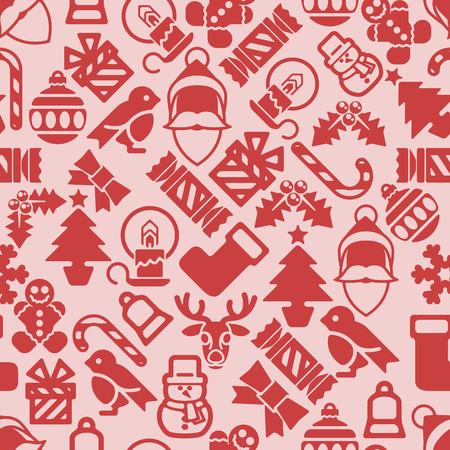 Christmas pattern background with illustrations of lots of Christmas icons Çizim