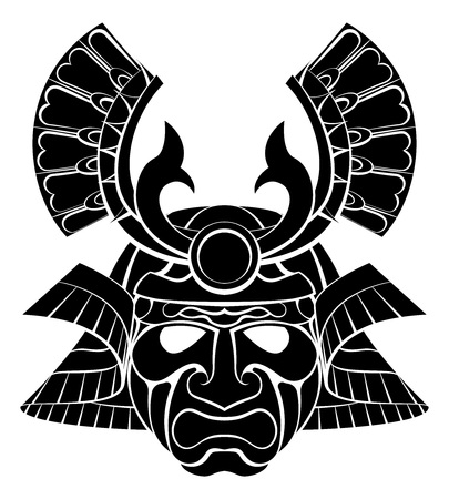 A samurai warrior mask helmet design graphic illustration Çizim