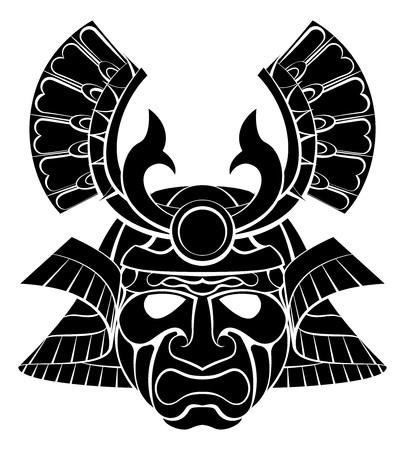 Een samurai krijger masker helm te ontwerpen grafische illustratie