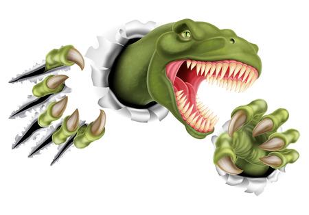 AT Rex Tyrannosaurus Rex dinosaurio rayado, rasgando y desgarrando a través de la pared con sus garras Ilustración de vector