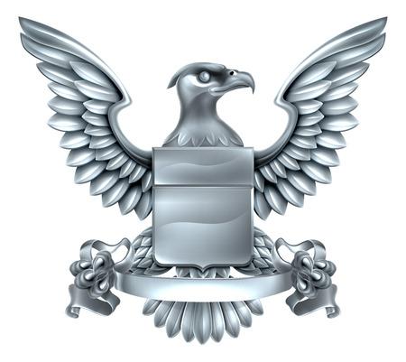 バナー スクロールでイーグル銀金属盾紋章紋章紋章付き外衣デザイン。  イラスト・ベクター素材