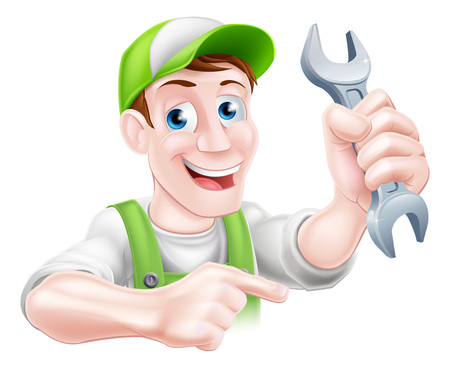 A happy cartoon plumber or mechanic man holding a spanner or wrench and pointing