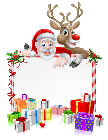 Santa Christmas cartoon sign with cartoon Santa and his red nosed reindeer peeking over a sign with wrapped presents or gifts
