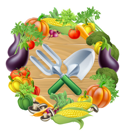 Trowel and garden fork gardening tools surrounded by a circle border of fresh fruit and vegetables food produce Stock Illustratie
