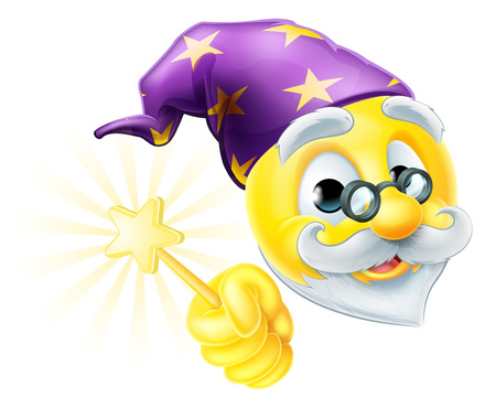 A cartoon cute wizard emoji emoticon waving a magic wand