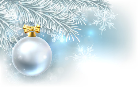Snowflakes and Christmas tree bauble decoration ornament winter design background. Vetores