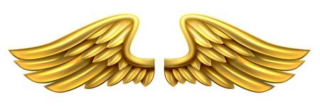 Para złota złote błyszczące metalowe skrzydła projektowania