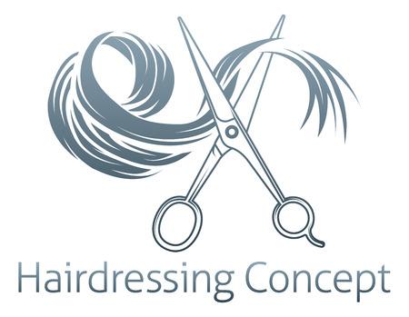 Coiffeur icône conceptuel d'une paire de ciseaux de coupe une mèche de cheveux