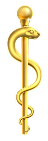 Een gouden Staaf van Asclepius medische symbool of symbool met een slang rond een staaf Stock Illustratie