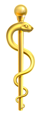 A gold Rod of Asclepius medical symbol or symbol featuring a snake around a rod
