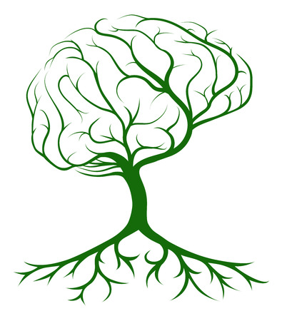Brain tree concept of a tree growing in the shape of a human brain. Could be a concept for ideas or inspiration Çizim