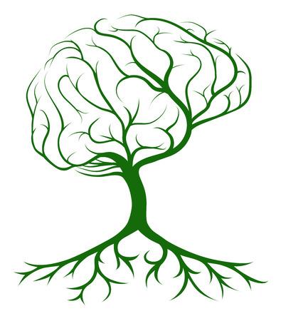Cervello concetto di albero di un albero che cresce in forma di un cervello umano. Potrebbe essere un concetto per idee o ispirazioni Archivio Fotografico - 46615432