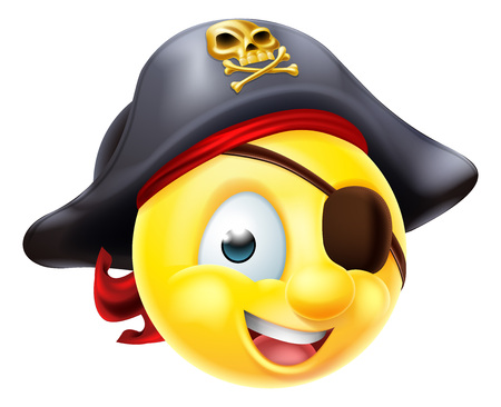 A pirate emoji emoticon smiley face character wearing a cap and eye patch Иллюстрация
