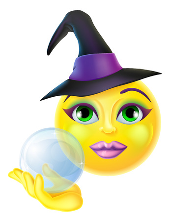 A cute Halloween emoticon emoji holding a crystal ball