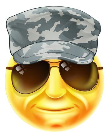 Un carácter cara sonriente emoticono emoji soldado que llevaba una gorra y gafas de sol camuflado