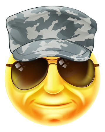 A soldier emoji emoticon smiley face character wearing a camouflaged cap and sunglasses