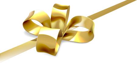 Een illustratie van een mooie gouden lint en boog van een kerst, verjaardag of andere gift