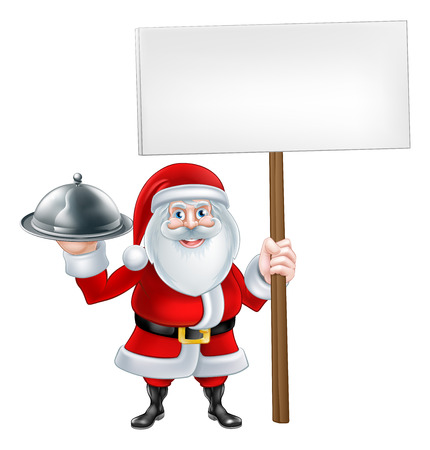 A Christmas cartoon illustration of Santa Claus holding a silver platter of food and sign 일러스트