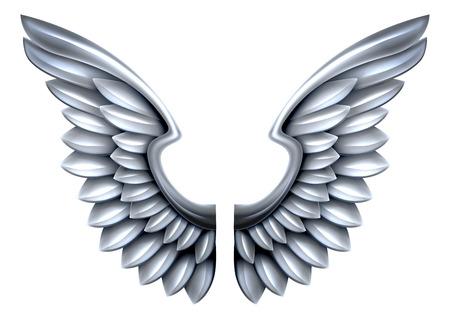 강철 또는 은색 반짝이 금속 날개의 쌍 일러스트