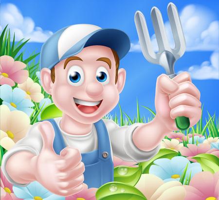A cartoon gardener character holding a garden fork and giving a thumbs up standing in a flower garden