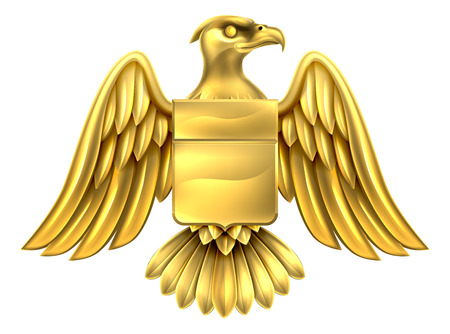 An eagle gold metal shield heraldic coat of arms design. Ilustração